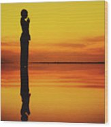 Silhouette Of A Girl Practicing Yoga Reflected On The Surface Of Water During Beautiful Sunset Wood Print