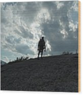 Silhouette Of A Hiker On Middle Sugarloaf Mountain - White Mountains New Hampshire Usa Wood Print
