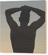 Silhouette Of A Man At Sunset Wood Print