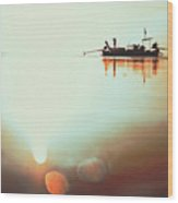 Silhouette Of A Thai Fisherman Wooden Boat Longtail During Beautiful Sunrise Thailand Wood Print