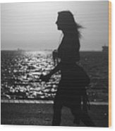 Silhouette Of A Woman Wood Print