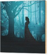 Silhouette Of A Womanin In A Forest At Twilight Wood Print