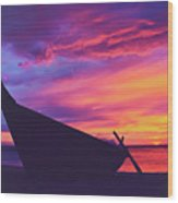 Silhouette Of A Wooden Thai Boat  On The Beach During Beautiful And Dramatic Sunset Wood Print