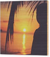 Silhouette Of A Young Boy Watching Beautiful Caribbean Sunset Wood Print