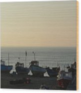 Silhouette Of Boats On Beach  Wood Print