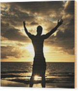 Silhouette Of Fit Man Wood Print