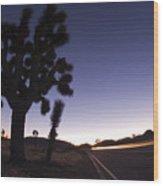 Silhouette Of Joshua Trees Yucca Wood Print