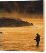 Silhouette Of Man Flyfishing Fishing In River Golden Sunlight Wood Print
