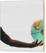 Silhouette Of Man Holding Globe Wood Print