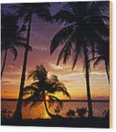 Silhouette Of Palm Tree On The Coast Wood Print
