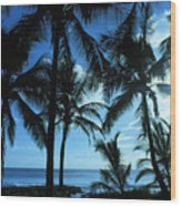Silhouette Of Palms Wood Print