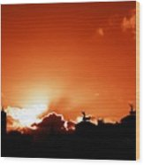 Silhouette Of Rome Against A Sunset Sky Wood Print