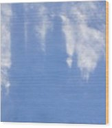 Silhouette Of Sky Scrapers Reflected In The Clouds Wood Print