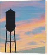 Silhouette Of Small Town Water Tower Wood Print