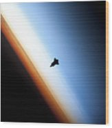Silhouette Of Space Shuttle Endeavour Wood Print