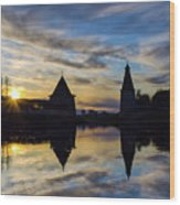 Silhouette Of Stronghold And Sunset. Pskov Kremlin. Russia Wood Print