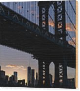 Silhouette Of The Manhattan Bridge Wood Print