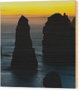 Silhouette Of The Twelve Apostles At Sunset Wood Print