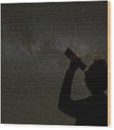 Silhouette Of Woman Looking At Stars Wood Print