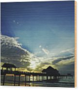 Silhouette Pier 60 Sunset Wood Print