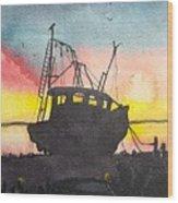 Grounded Shrimp Boat Wood Print
