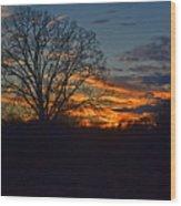 Silhouette Sunset 004 Wood Print