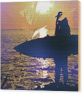 Silhouette Woman On Coast Holding Surfboard At Sunset Wood Print
