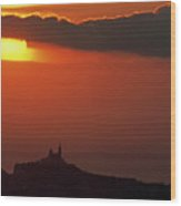 Silhouetted Cityscape Of Marseille At Sunset Wood Print