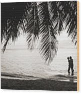 Silhouetted Couple Wood Print