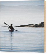 Silhouetted Kayaker In Morro Bay Wood Print