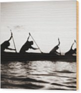 Silhouetted Paddlers Wood Print