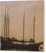 Silhouetted Sailboats Wood Print