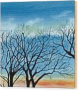 Silhouettes Against The Sky Wood Print