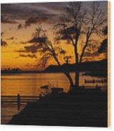 Silhouettes At Sunrise Wood Print