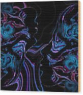 Silhouettes In Black Light. Wood Print