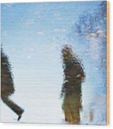 Silhouettes In Blue Sky Wood Print