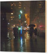 Silhouettes In The Rain - Umbrellas On 42nd Wood Print