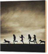 Silhouettes Of Running Girls And Dogs  Wood Print