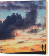 Silhouettes Of Three Girls Walking In The Sunset Wood Print
