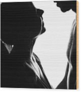 Silhouettes Of Two Wood Print