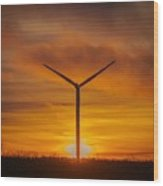 Silhouettes Of Wind Turbines With A Beautiful Sunset Wood Print