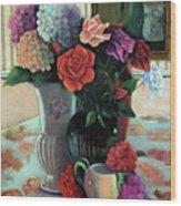 Silk Flowers Wood Print