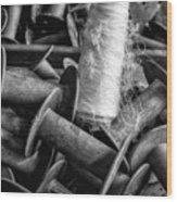 Silk Thread Spools Bw Wood Print