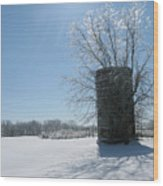 Silo In The Snow Wood Print