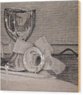 Silver And Glass Still Life Wood Print by Rebecca Tacosa Gray