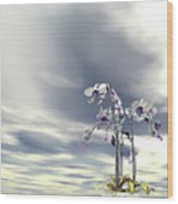 Silver And Gold Orchids Wood Print