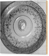 Silver Cameo Plate Wood Print
