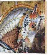 Silver Carousel Horse II Wood Print