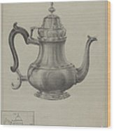 Silver Coffee Pot Wood Print