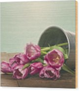 Silver Container With Fresh Tulips Wood Print